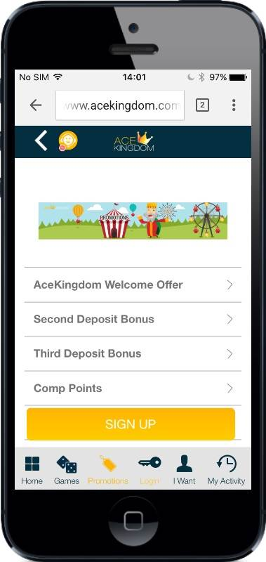 AceKingdom Casino Promotions on Mobile