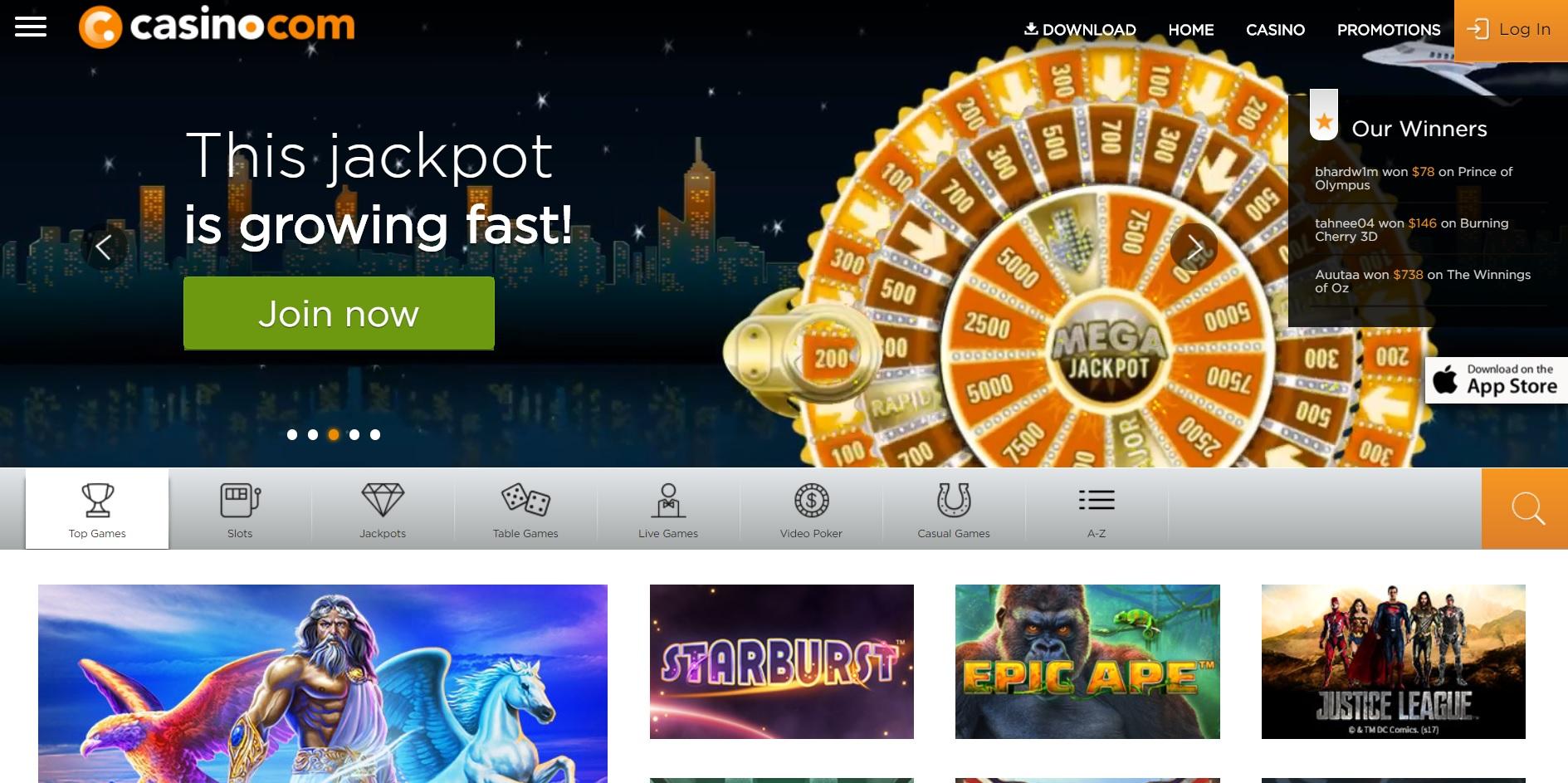 mighty slots mobile casino lobby