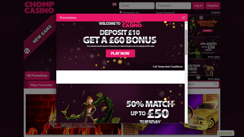 casino deposit 10 get 60