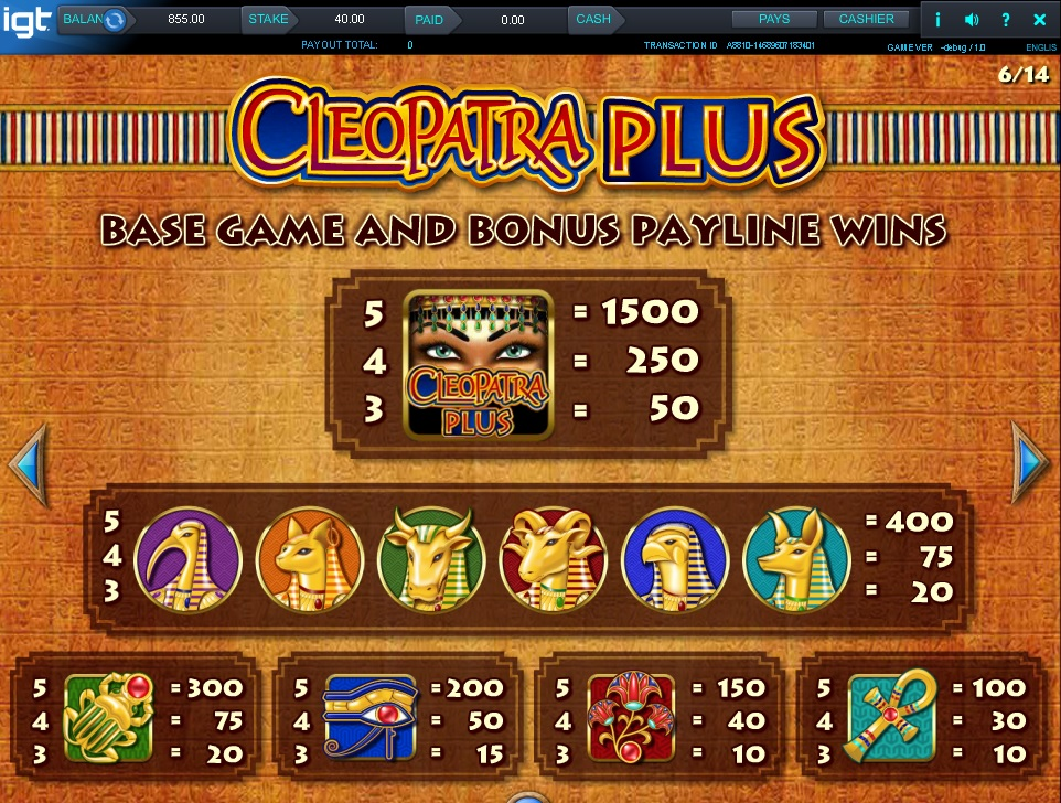 Cleopatra PLUS IGT slot paytable