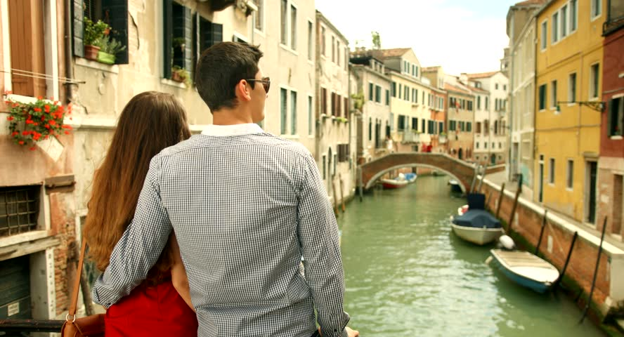 Couple on Canal In Venice