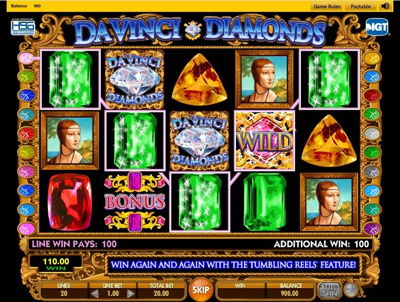 Da Vinci Diamonds Slot by IGT - Win