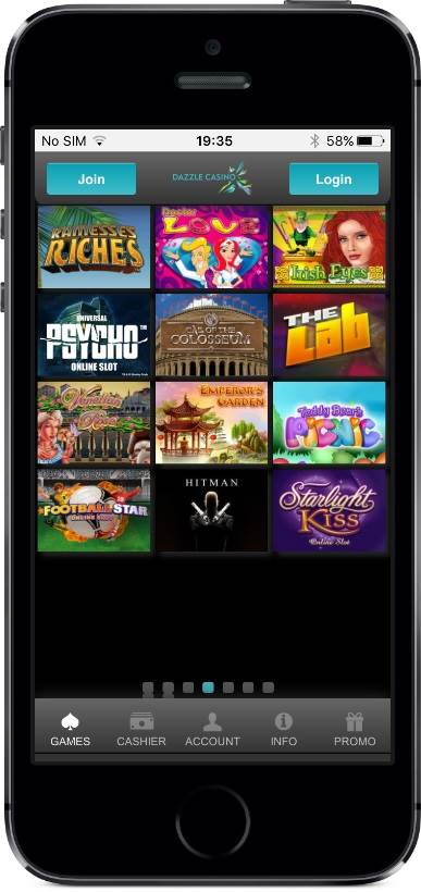Dazzle Casino Games on Mobile