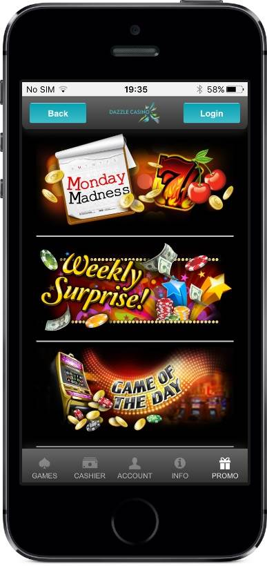 Dazzle Casino Promotions on Mobile