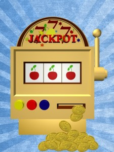 drawing of a fruit machine