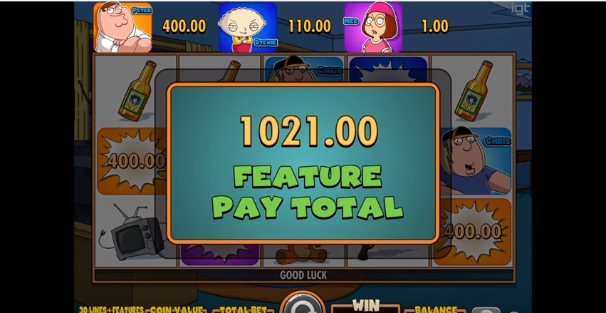 Family Guy Slot by IGT - Feature Payout