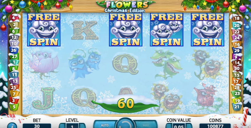 Flowers Xmas Edition Slot by NetEnt - Win