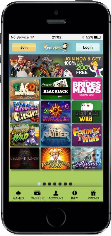Fruity King Casino Games on Mobile