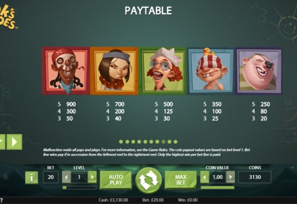 Hook's Heroes Slot by NetEnt – Paytable