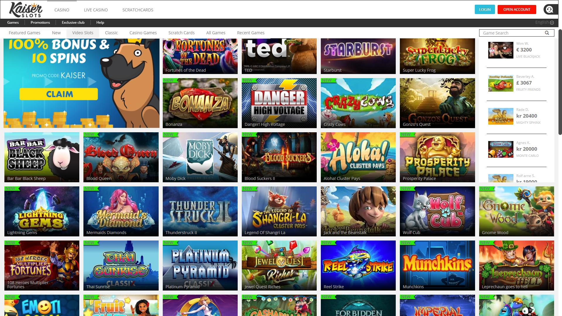 kaiserslots casino review lots of games short on promotions