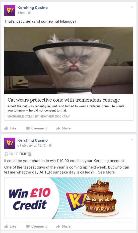 Kerching! Casino Facebook Feed