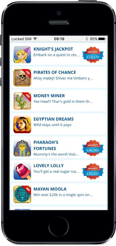 LadyLucks Casino Games on Mobile