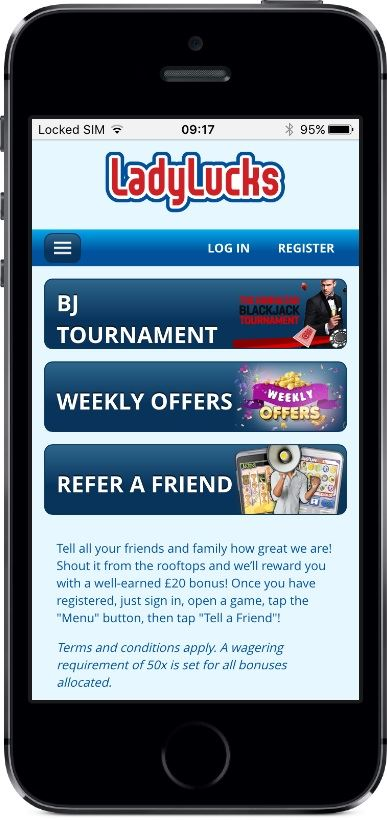 LadyLucks Casino Promotions on Mobile