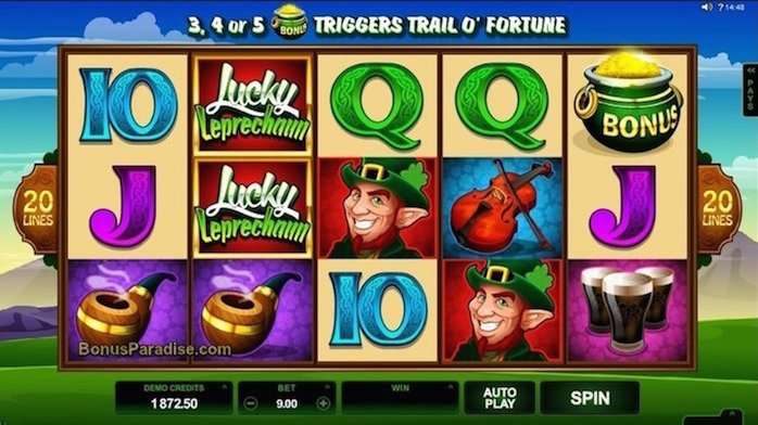 Lucky Leprechaun Slot by Microgaming - Home Screen