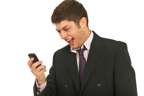 man using mobile to deposit on mobile casino