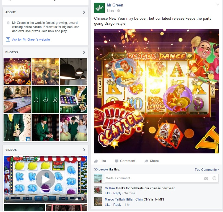 Mr Green Casino Facebook Feed