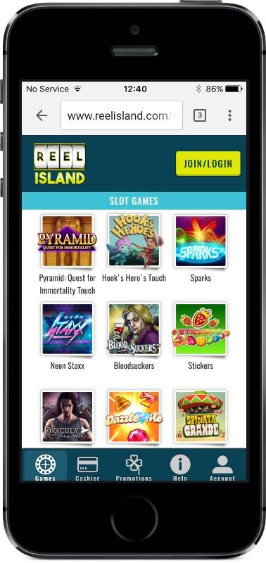Reel Island Casino Games on Mobile