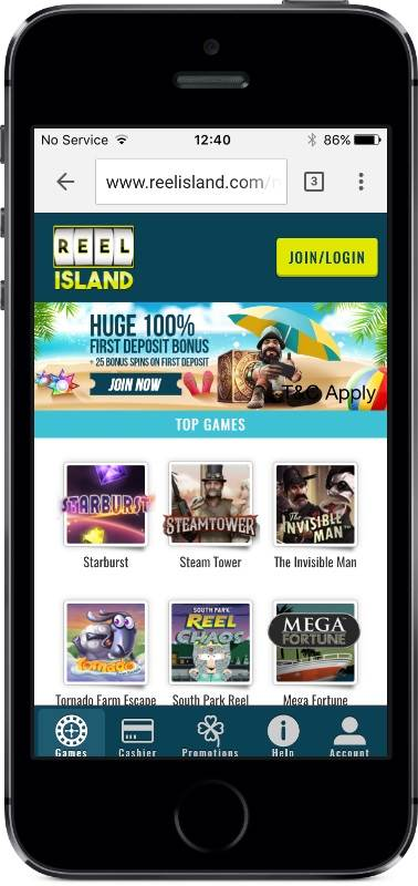 Reel Island Casino Lobby on Mobile
