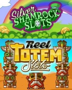 Silver Shamrock and Reel Totem Slots Logos