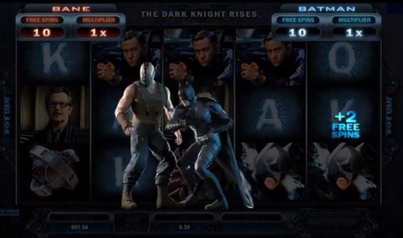 The Dark Knight Rises video slot by Microgaming, demonstrating the Fight Mode