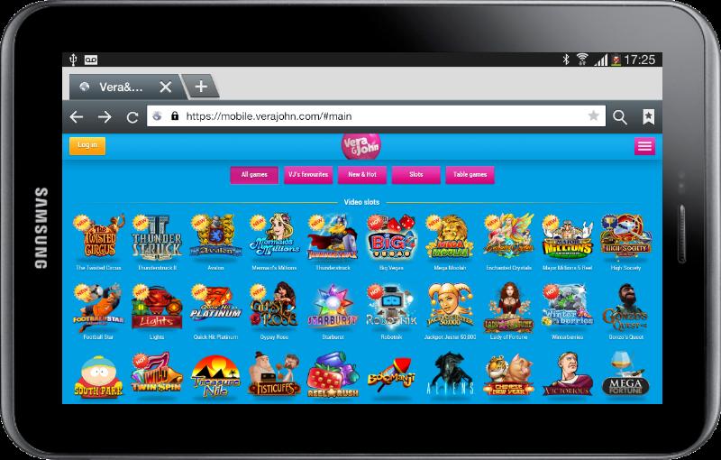 Vera & John Game Lobby on Tablet