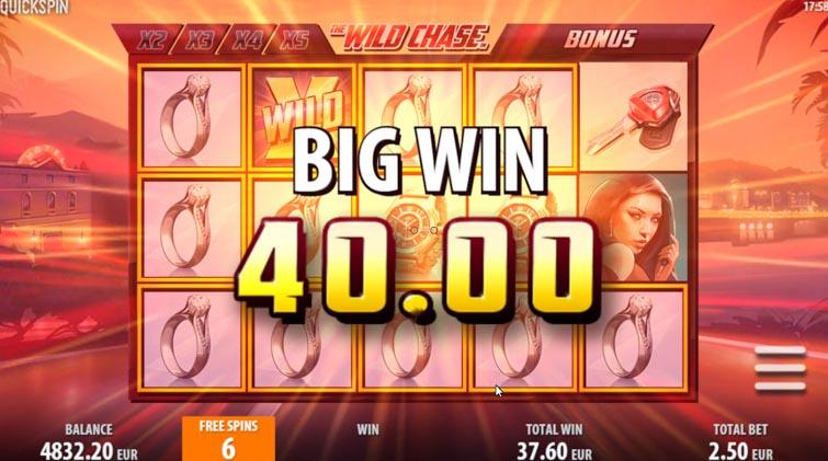 Wild Chase Quickspin Slot Big Win