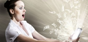 Woman Surprised By Money Coming Out From Tablet